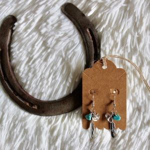 Feather Turquoise Accent Earrings